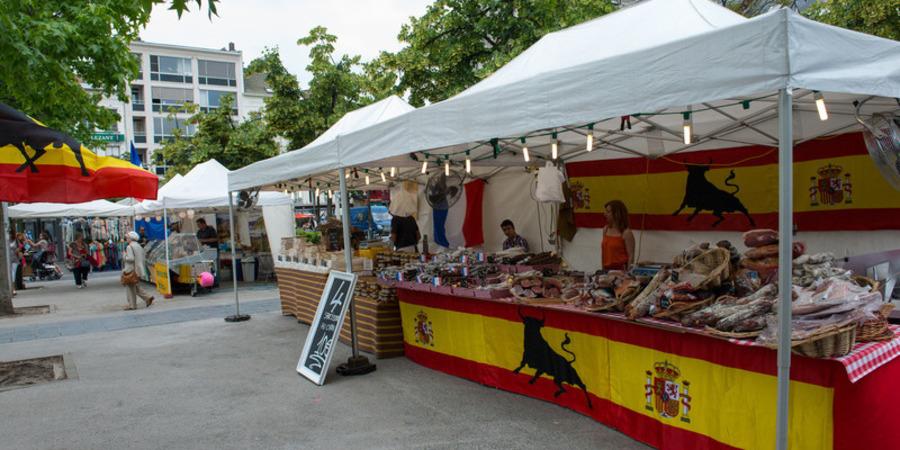 Spaans kraampje op de Groenplaats tijdens Fiesta Europa