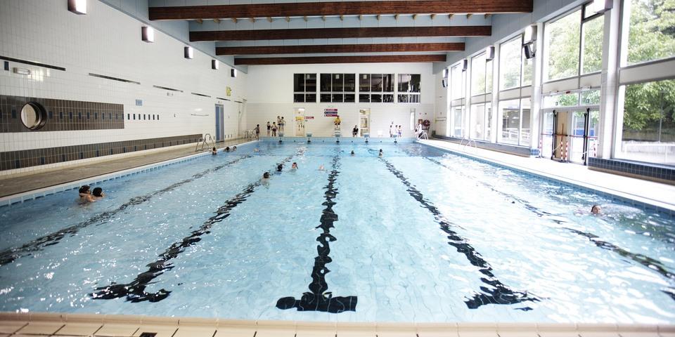 Overzichtsbeeld van zwembad Plantin Moretus