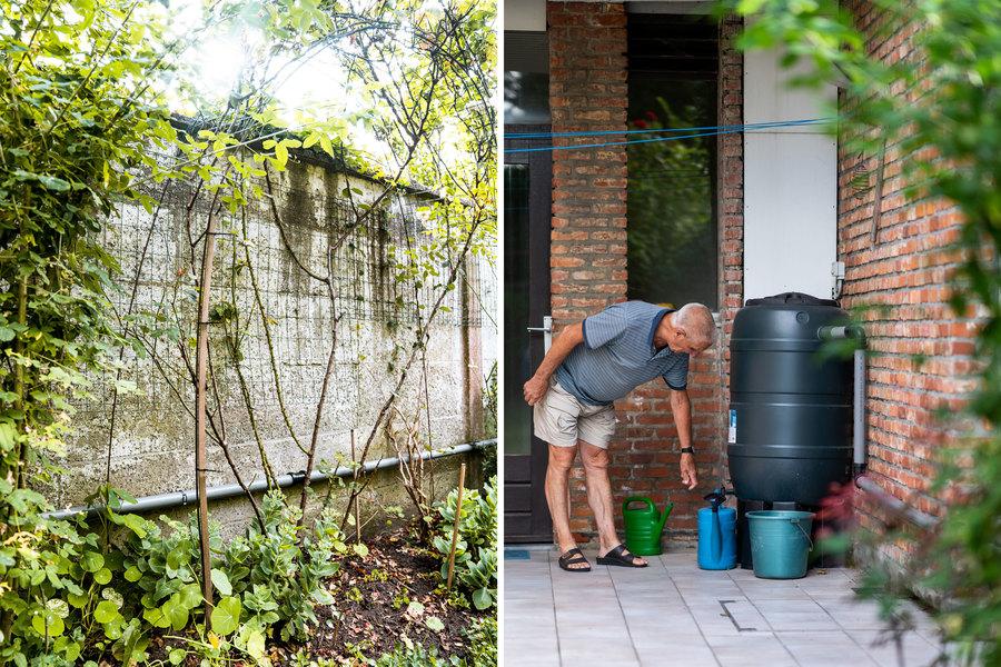 Links zien we de leiding op de muur van Pauls tuin lopen. Rechts laat hij water van de regenton in een gieter lopen.