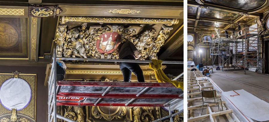 Restaurateurs nemen de moulures en schilderingen op het plafond onder handen.