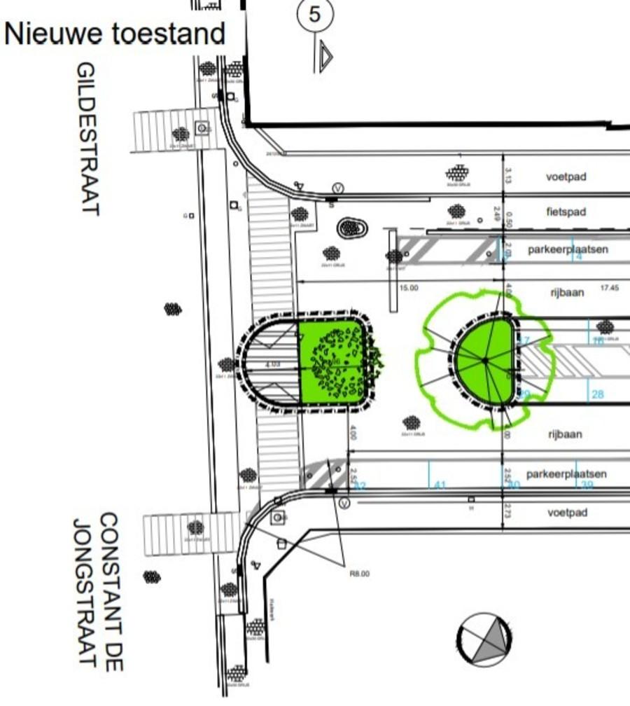 Plan nieuwe toestand middenberm Stella Marisstraat t.h.v. Gildestraat/C. De Jongstraat