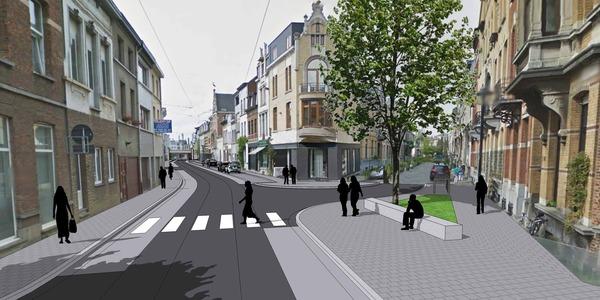 3D ontwerp voor de nieuwe Guldenvliesstraat ter hoogte van het kruispunt met de Waterloostraat