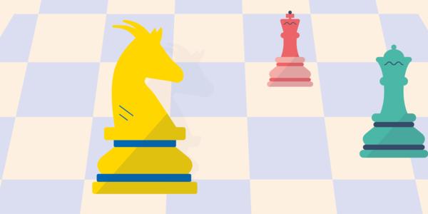 Een Wilrijks geiteschaakstuk samen met enkele andere schaakstukken op een bordachtergrond: het beeldmerk van 'Wilrijk aan zet'