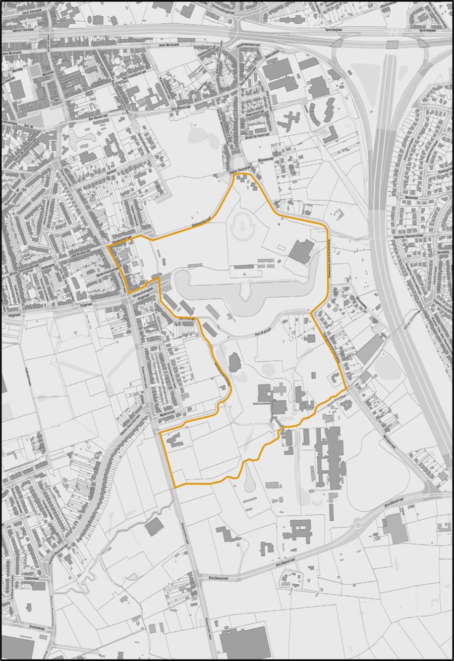 Campus Drie Eiken (Wilrijk) waarop het RUP van toepassing zal zijn. (Gebied binnen de oranje begrenzing.)