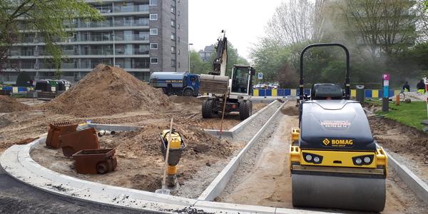 De werken aan het kruispunt Fruithoflaan - Jos Ratinckxstraat