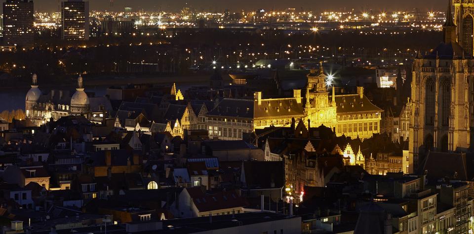 Historisch stadscentrum met stadhuis van Antwerpen
