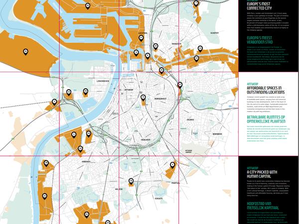 Een kaart met de bedrijventerreinen van de stad