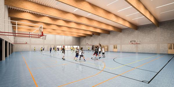 Simulatiebeeld interieur tweede nieuwe sporthal