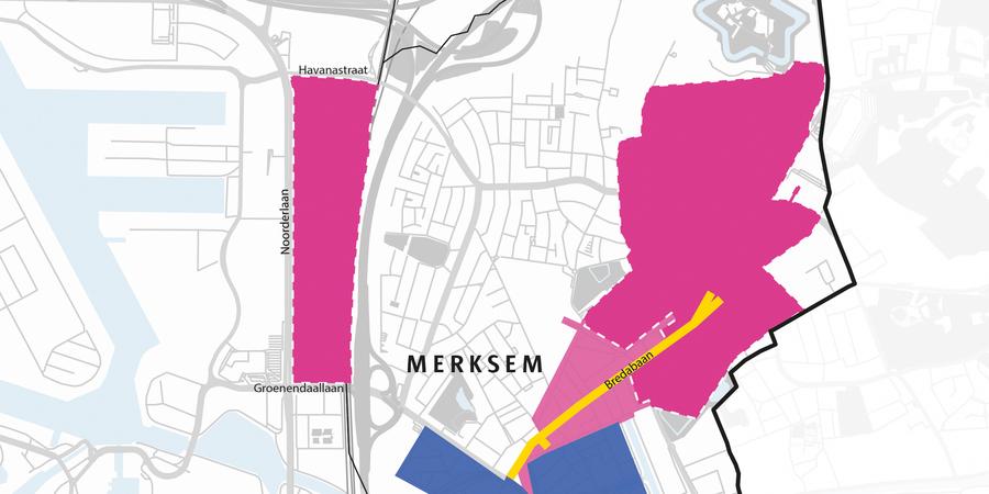 Kaart van de uitbreiding van de roze tariefzone vanaf 4 oktober