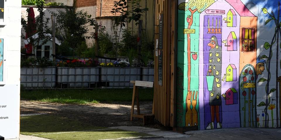Kleurrijke muur in samentuin