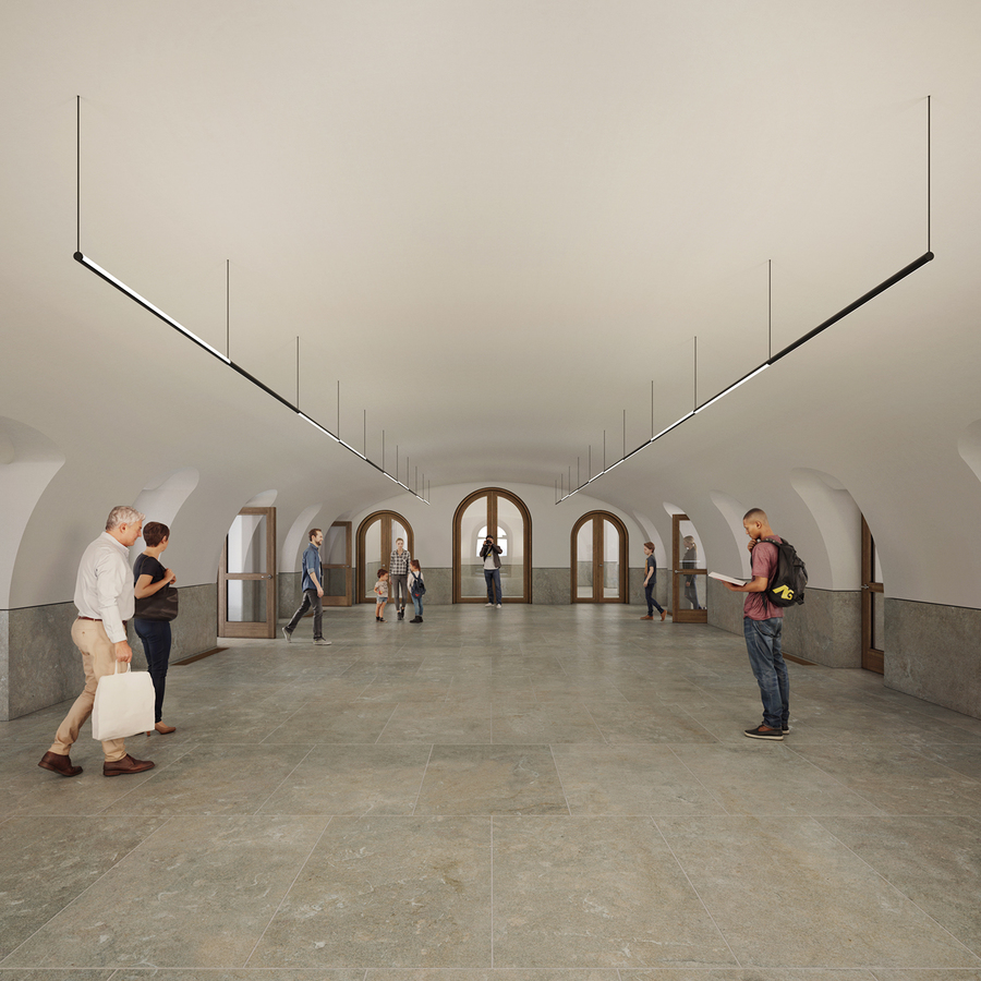 Simulatiebeeld centrale foyer vernieuwde stadhuis
