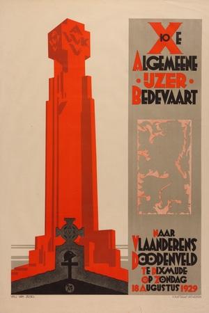 Affiche van de 10de IJzerbedevaart, 18 augustus 1929.