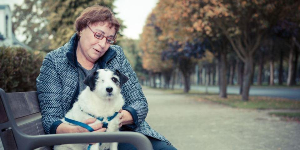 Een dame met haar hond op een bank