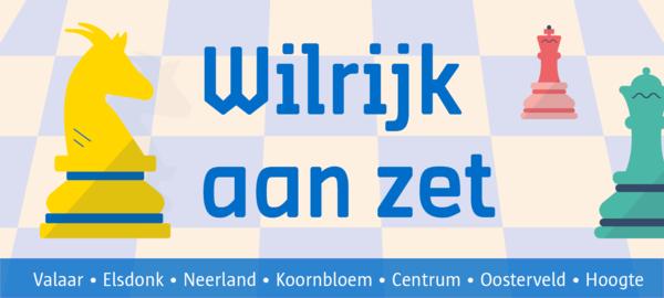 Het logo van Wilrijk aan zet: een reeks schaakstukken met vooraan een geel-blauw Wilrijks schaakstuk in de vorm van een geit.