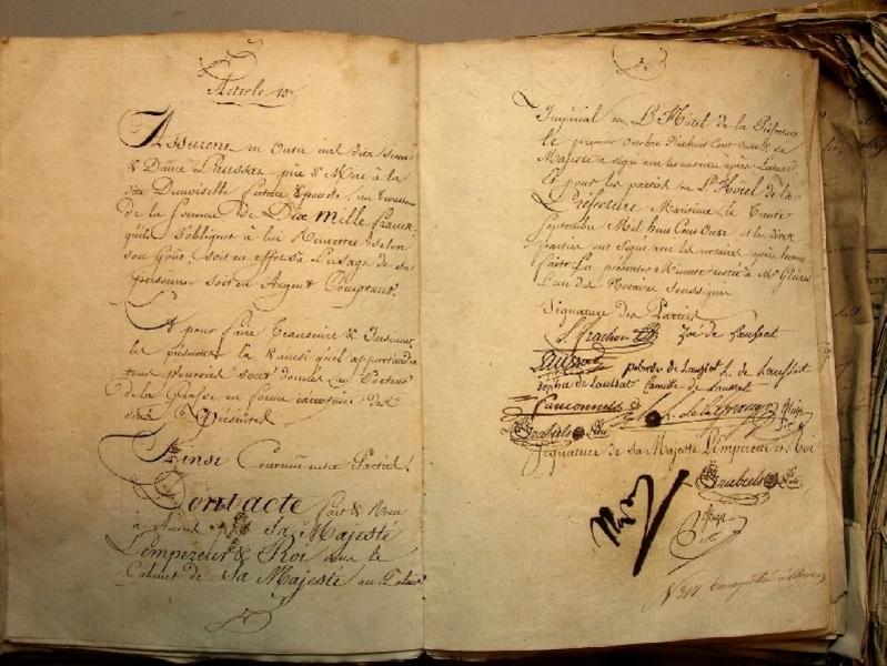 Het huwelijkscontract van kapitein Charles Frachon en Zoë Laussat, dochter van de Antwerpse prefect, ondertekend door Napoleon in 1811