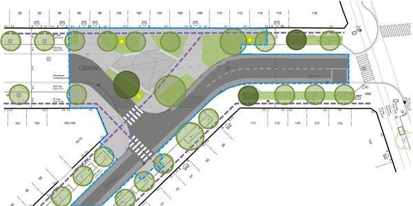 Ontwerp voor de heraanleg van het kruispunt Lodewijk Van Berckenlaan - Edelgesteentenstraat