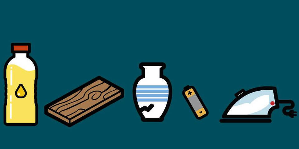 tekening van frituurolie, stuk hout, kapotte vaas, batterij en strijkijzer