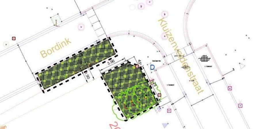 Plan nieuwe toestand hoek Bordink - Kluizeveldenstraat