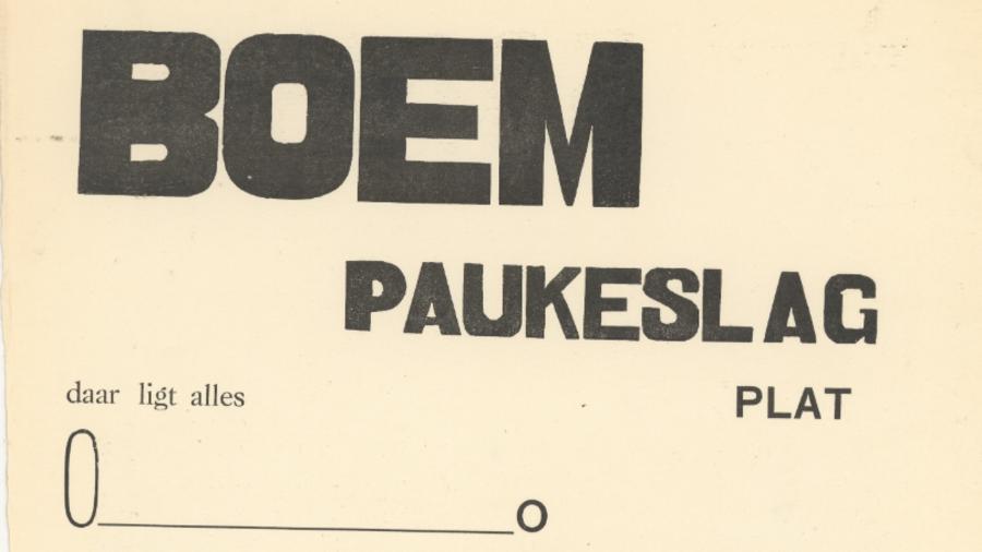 Begin van het gedicht 'Boem Paukeslag'
