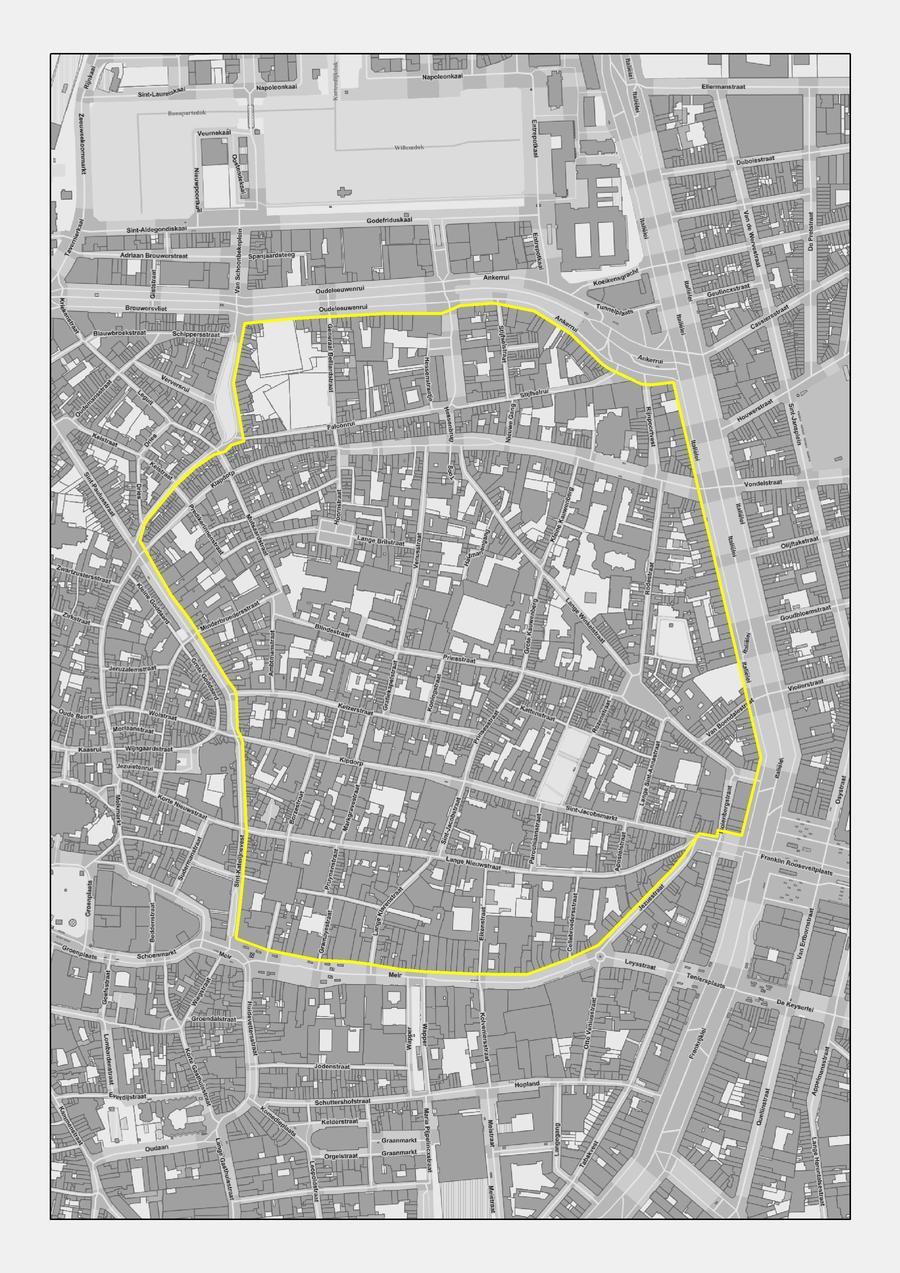 Campus in het centrum van Antwerpen waarop het RUP van toepassing zal zijn. (Gebied binnen de gele begrenzing.)