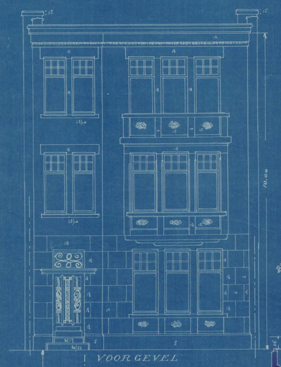 Plan van de voorgevel naar een ontwerp van Edouard De Winter. (Vlaamsekunstlaan 21)