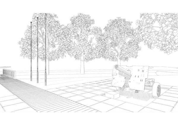 Driedimensionele schets van het monument