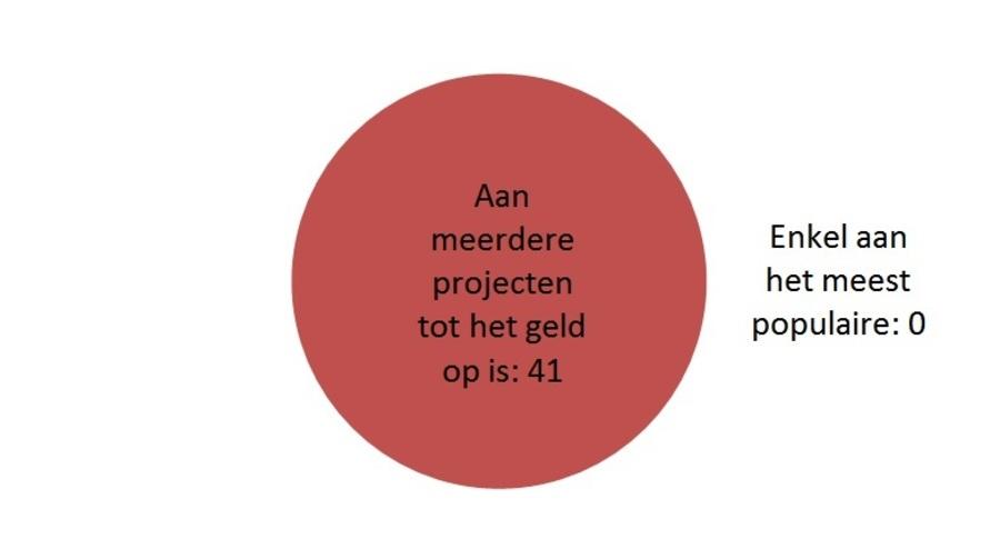 Taartdiagram resultaat: Aan meerdere projecten tot het geld op is: 41; Enkel aan het meest populaire: 0