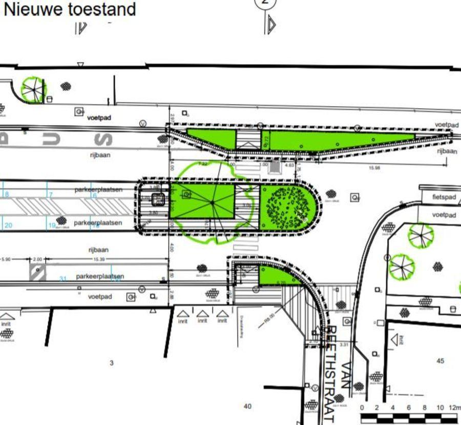 Plan nieuwe toestand middenberm, voetpaduitstulping en oversteek Stella Marisstraat t.h.v. Van Reethstraat