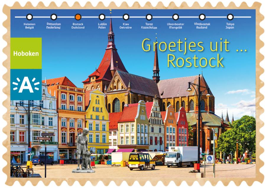 Groeten uit-kaart uit Rostock met Nello en Patrasche op de voorgrond