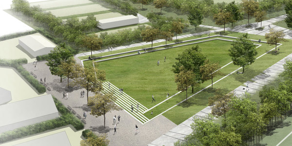 Zicht op het centrale plein in het park