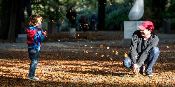 Vader en zoon spelen met herfstbladeren