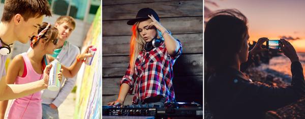 collage van foto's met tieners die graffiti spuiten, dj's of een foto nemen met smartphone