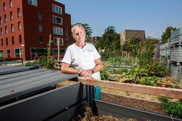 Man in groententuin, composthoop op de voorgrond