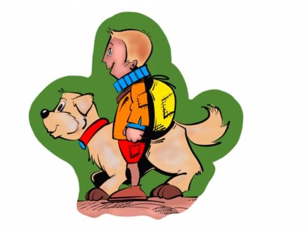Een tekening van Nello en zijn hond Patrasche