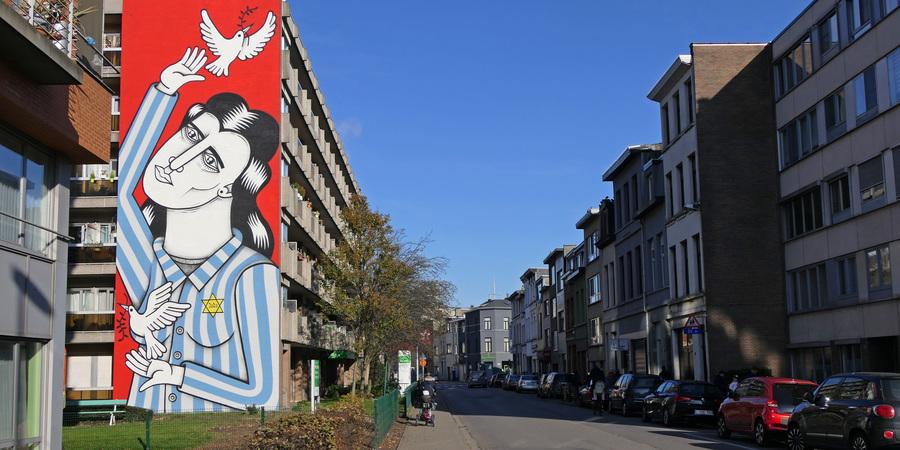 Streetart op straat in Borgerhout