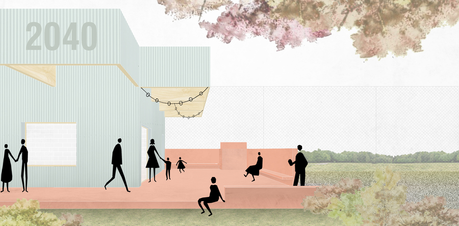 Simulatie van het terras van het nieuwe jeugdhuis in Zandvliet