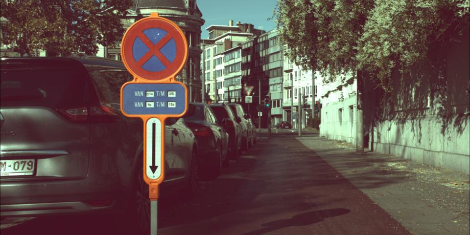 Digitaal parkeerverbodsbord in Antwerpen