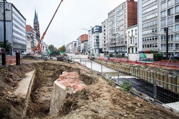Zicht op de bastionpunt die werd vrij gegraven.