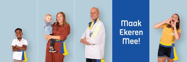 Campagnebeeld van Maak Ekeren Mee met enkele gewone Ekerenaars met een blauw-gele burgemeesterssjerp