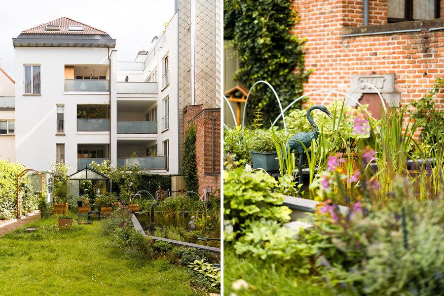 Links zien we de tuin, rechts een close up van de vijver