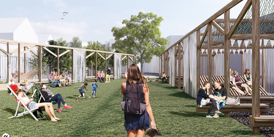 Simulatie van de toekomstige tijdelijke buurtplek aan de Langstraat