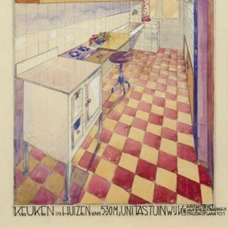 Eduard Van Steenbergen, Unitaswijk, Geaquarelleerd interieurgezicht van een keuken, Antwerpen (Deurne), 1929.