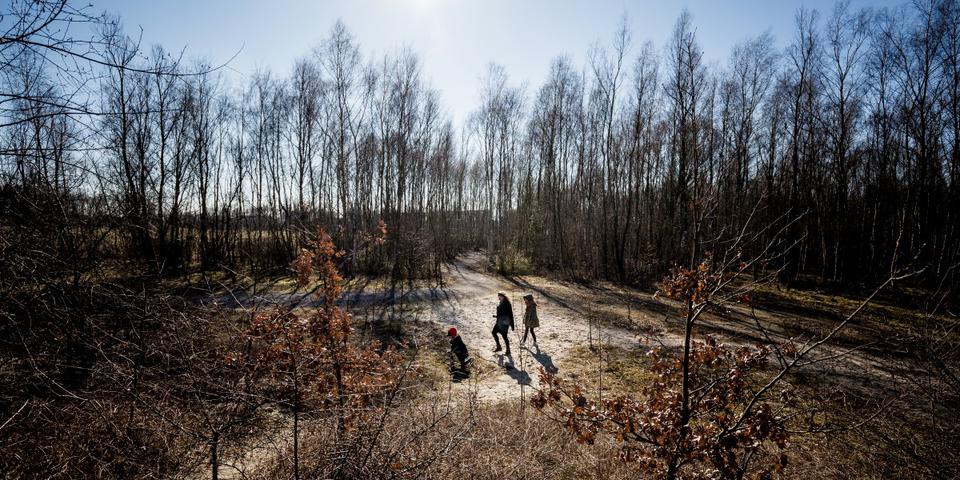 Een gezin wandelt in het natuurgebied van de Middenvijver