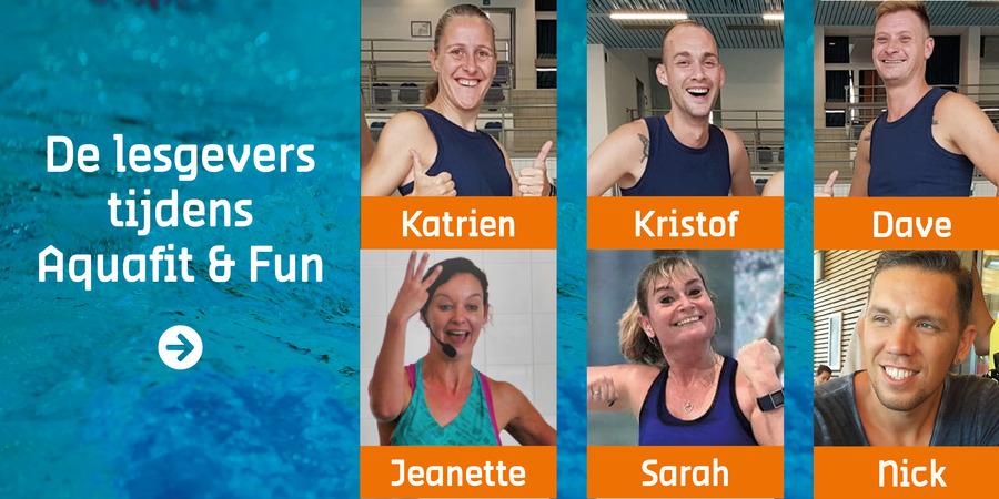 De lesgevers tijdens Aquafit en Fun: katrien, kristof, dave, jeanette, sarah en nick