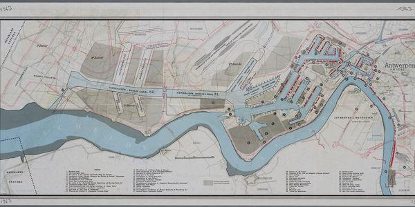 Gemeentelijk Havenbedrijf Antwerpen:  kaart van de haven, de Scheldekaaien en de toenmalige toekomstplannen, 1963