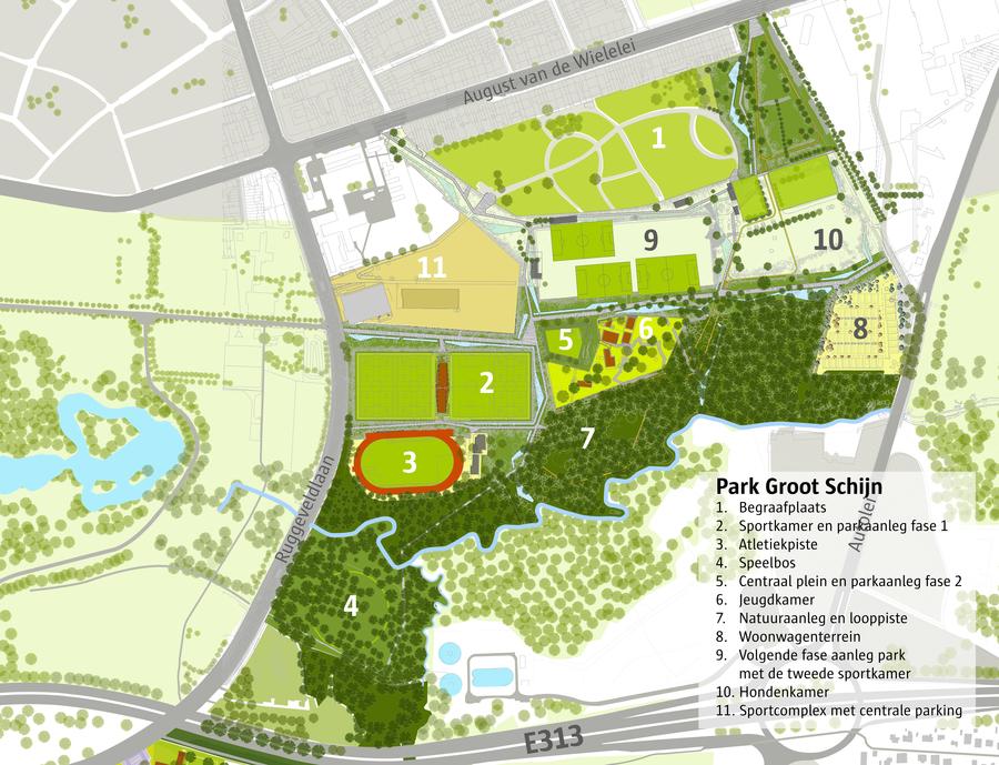 Plan Park Groot Schijn met aanduiding van alle onderdelen in het noordelijke deel