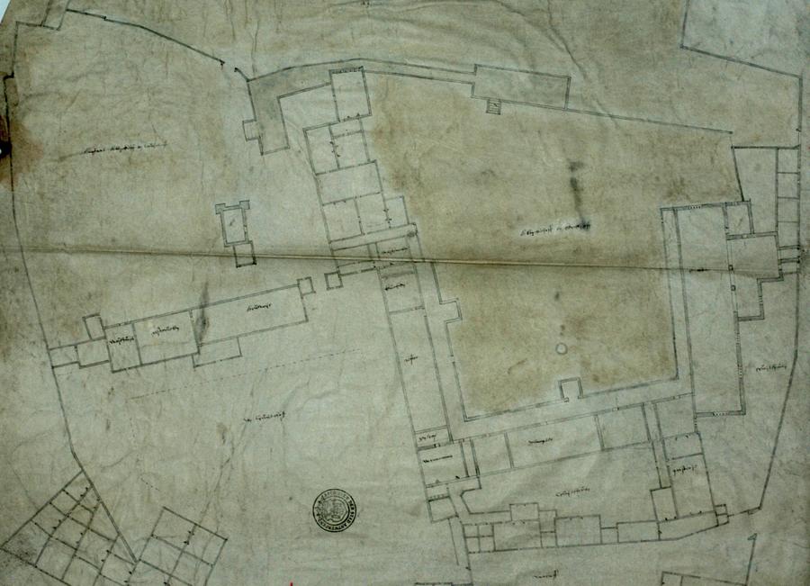 In het archief hebben de stadsarcheologen een plan terug gevonden van het Falcontinnenklooster. Hier is een detail van het plan te zien.
