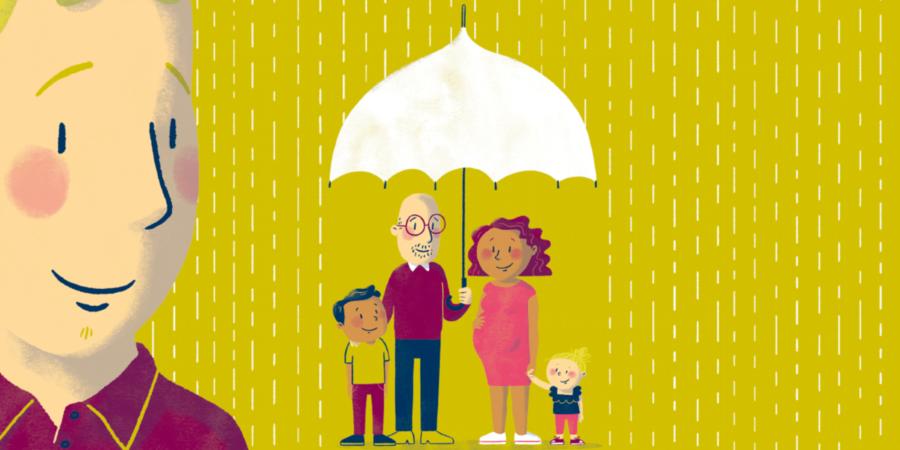 Een illustratie van een zorgambassadeur die toekijkt hoe een gezin zich beschermd tegen de regen met een paraplu.
