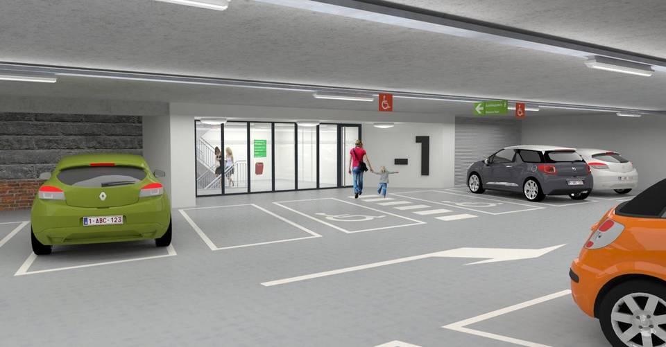 Simulatie van de voetgangersuitgang parkings onder de Gedempte Zuiderdokken