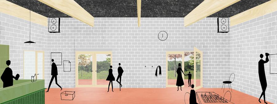Simulatie van het interieur van het nieuw jeugdhuis in Zandvliet